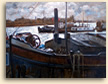 Painting of Thames barges in Hammersmith, London