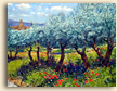 Painting of Olive Trees and Poppies in Provence